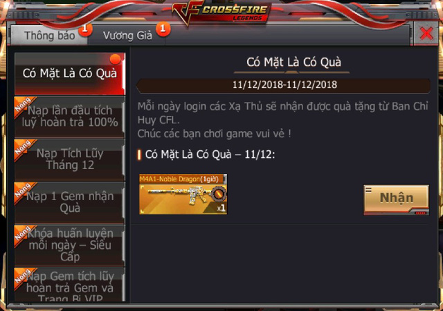 hữu ngay bộ đôi vũ khí cực VIP tại CrossFire Legends free Img20181211193001633