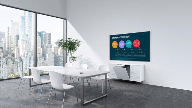 Màn chiếu Laserpanel loại sử dụng máy chiếu ngắn phù hợp cho các phòng họp cao cấp, lớp học quốc tế.