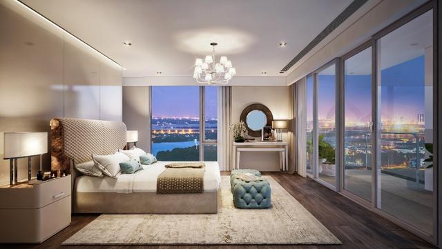 Phòng ngủ tại tháp Maldives với hai tầm nhìn rộng mở về sông Sài Gòn và trung tâm thành phố.