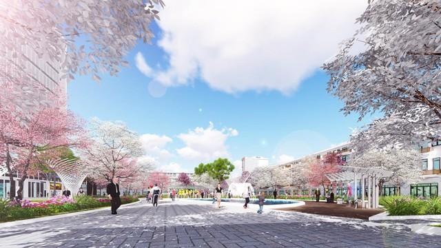 Ảnh phối cảnh dự án Sakura Central Park – công viên Hoa Anh Đào.