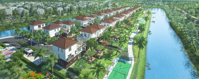 Phối cảnh khu biệt thự Valora Island nằm trong tổng thể dự án Mizuki Park của Nam Long.