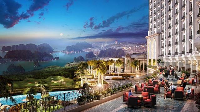Ngắm cảnh hoàng hôn kỳ ảo trên bờ vịnh ngay từ sảnh khách sạn lộng gió.