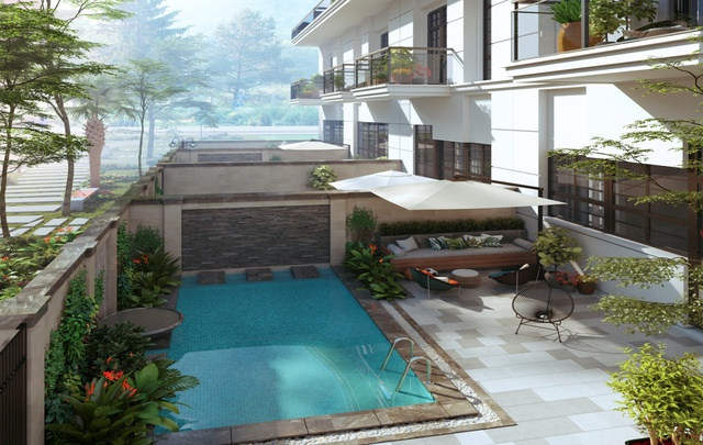 Mặt sau của mỗi căn shophouse sở hữu không gian như tại resort với bể bơi, vườn cây tiểu cảnh.