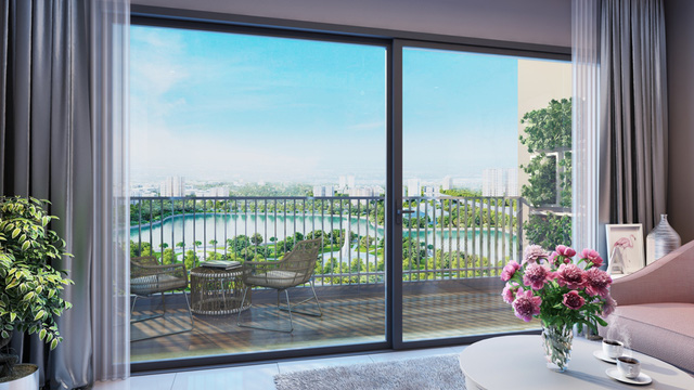 Tầm nhìn lý tưởng hướng công viên, hồ điều hòa Nhân Chính từ căn hộ cao tầng D'.Capitale.