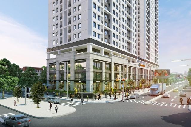 nhà phố thông tầng nằm ở khối đế của công trình sẽ là nơi hình đô thị tản bộ mua sắm sầm uất và tân tiến.