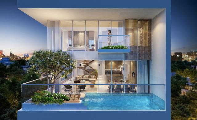 Hồ bơi trên không và cây tán rộng là điểm nhấn trong kiến trúc Serenity.