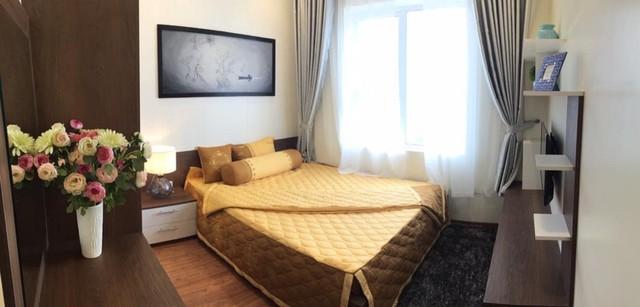 Bên trong phòng ngủ của 1 căn hộ chung cư ở The Golden An Khánh.