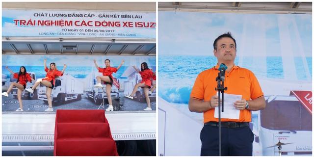 Chương trình bắt đầu có tiết mục múa mở màn trên sân khấu là thùng xe cánh dơi và phát biểu khai mạc của đại diện hãng Isuzu Việt Nam.