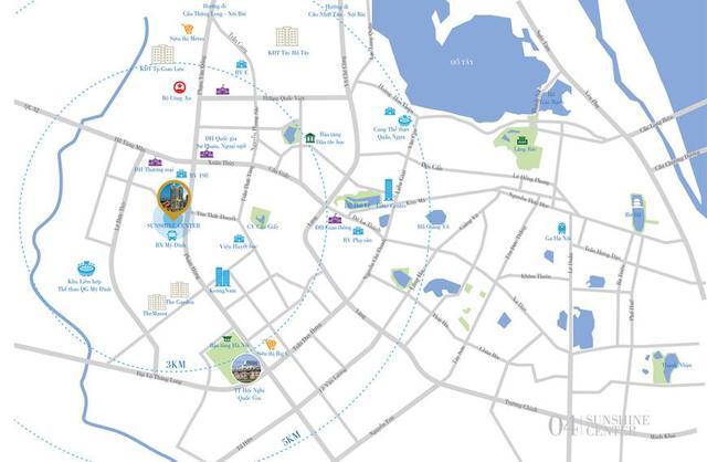 Sunshine Center là tâm điểm của tam giác phát triển bất động sản nội đô cũ bao gồm: khu vực phía Tây, trọng điểm mới của Hà Nội và phân khúc Tây Hồ Tây.