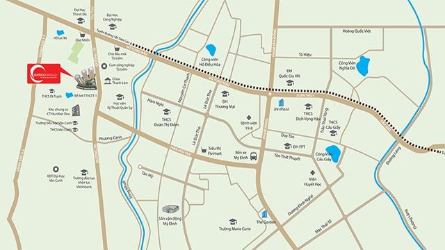 Dự án Hateco Apollo có vị trí vàng thuận lợi kết nối về trọng điểm quận Cầu Giấy, Mỹ Đình.