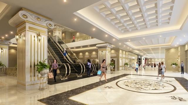 Không gian mua sắm sang trọng, tiện nghi tại chính tòa nhà để phục vụ nhu cầu của cư dân.