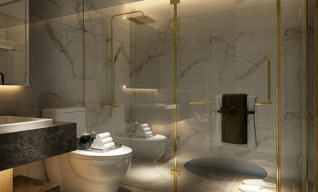 Nội thất phòng tắm mạ vàng được cung cấp bởi Kohler có hình thức khách sạn 5 sao có tất cả tường, sàn ốp lát đá cẩm thạch sang trọng.