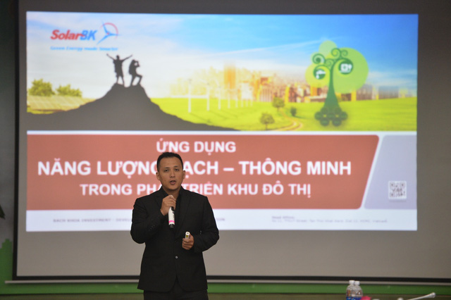 Ông Nguyễn Vũ Nguyên - Đại diện SolarBK trình bày về giải pháp ứng dụng năng lượng sạch trong phát triển khu đô thị.