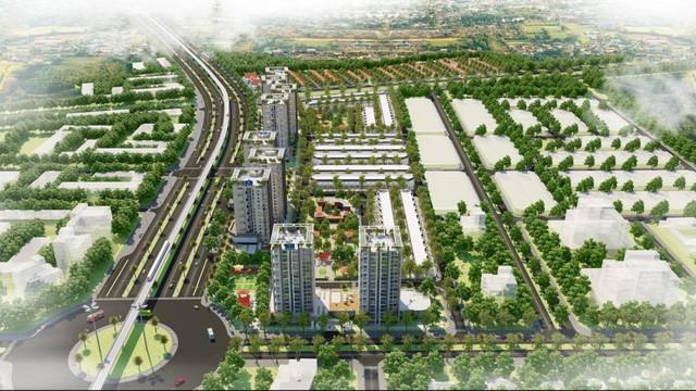 Phối cảnh dự án Thang Long Home – Hiệp Phước nhìn từ trên cao.