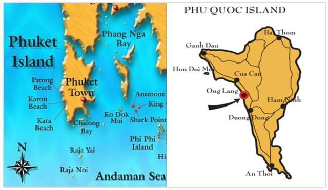"""Cùng địa vị Tây đảo, BĐS nghỉ dưỡng Tây đảo Phú Quốc được phân tách là con rồng còn """"ngủ yên"""" so có sự phát triển rực rỡ của Tây đảo Phuket (Thái Lan). Nguồn ảnh: Internet."""