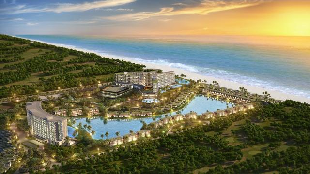 Phối cảnh khu nghỉ dưỡng Mövenpick Resort Waverly Phú Quốc bên bãi Ông Lang.