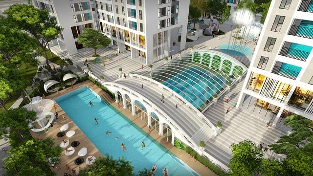 Phối cảnh khu hỗn hợp Bể bơi bốn mùa & ngoài trời tại Hồng Hà Eco City.