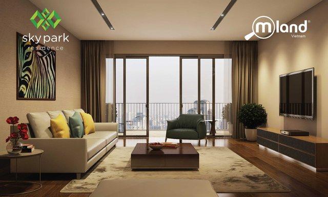 Nội thất cao cấp, phong cách kiến trúc hiện đại và màu sắc tinh tế của căn hộ Sky Park Residence gây ấn tượng mạnh mẽ.