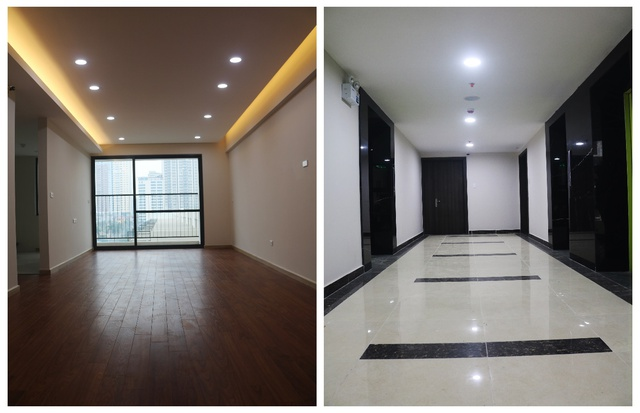 Bên trong căn hộ đã hoàn thiện và hành lang tại các tầng đã được vệ sinh sạch sẽ.