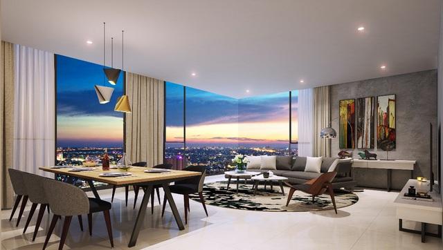 Căn hộ Kingdom 101 có thiết kế hiện đại và tinh tế, với hướng nhìn toàn cảnh thành phố về đêm.
