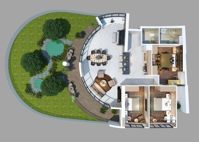 Phối cảnh căn hộ có sân vườn riêng dự án Vũng Tàu Gateway.