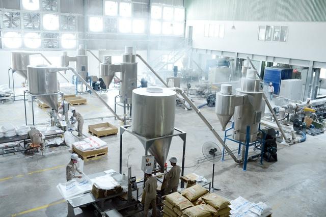 Bột đá và hạt nhựa được đưa vào hệ thống sản xuất hạt nhựa phụ gia.
